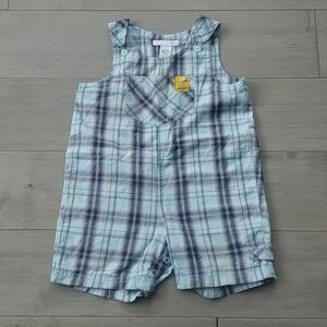 H&M Snoopy Overall/Romper, Blue Plaid, Adjustable
